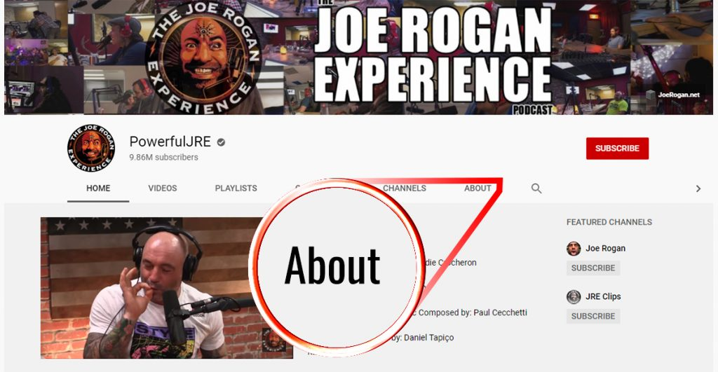 How to message someone on Youtube; screenshot of Joe Rogan's profile with an arrow on the about page