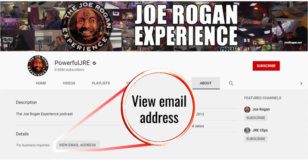 Screenshot on Joe Rogan's profile with an arrow on view email address button
