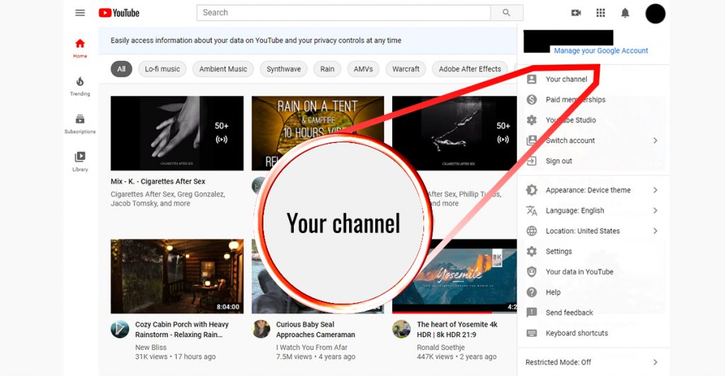 Screenshot of a youtube channel with an arrow on your channel button