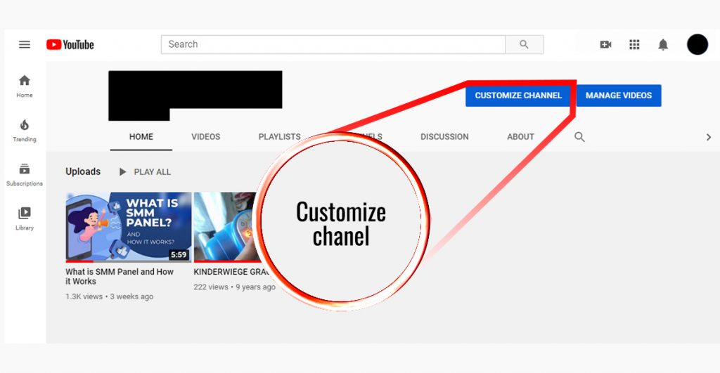 How to message someone on Youtube; screenshot of a youtube channel with an arrow on customize channel button