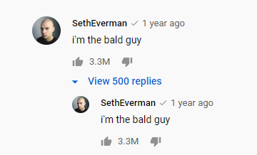 Screenshot of Seth Everman's comment on Billie Eilish's video that reads i'm the bald guy