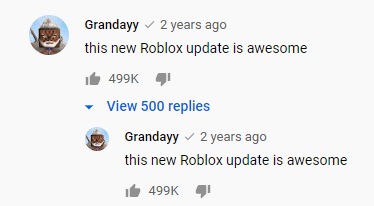 Screenshot of Grandayy's comment that reads this new roblox update is awesome