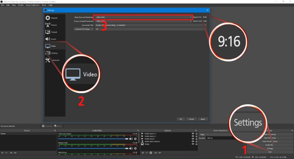 Make Shorts on PC with OBS Studio: steps 1-4