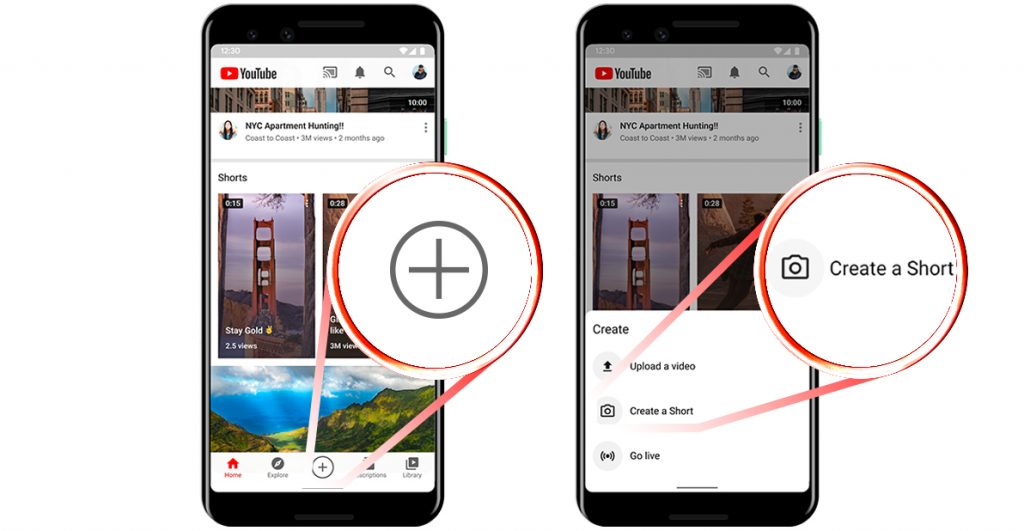 Create YouTube Shorts on mobile: step 1-3
